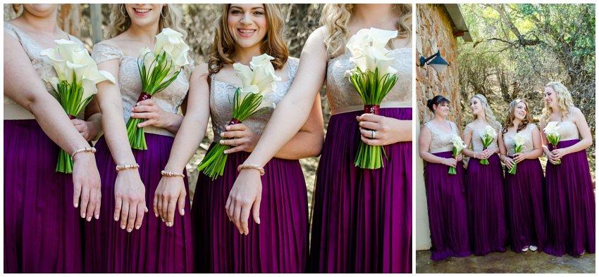 Bridesmaids in deep purple