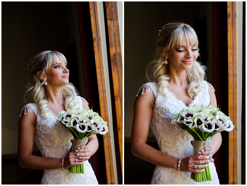 Red Ivory Bride getting ready