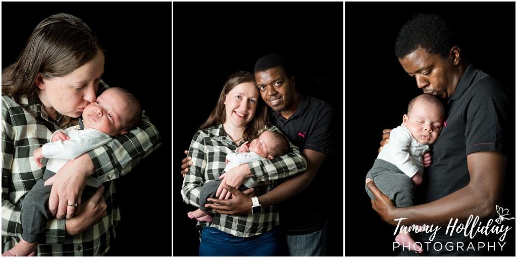 family photoshoot black background