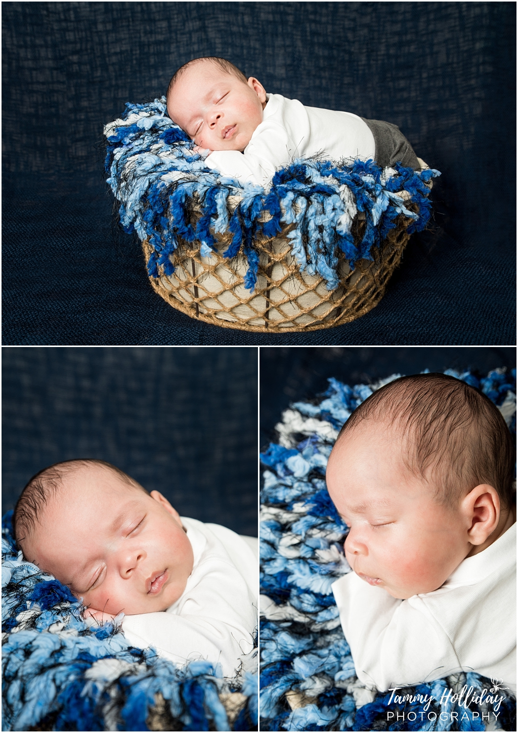 sleeping baby in woven basket with blue ruffled blanket