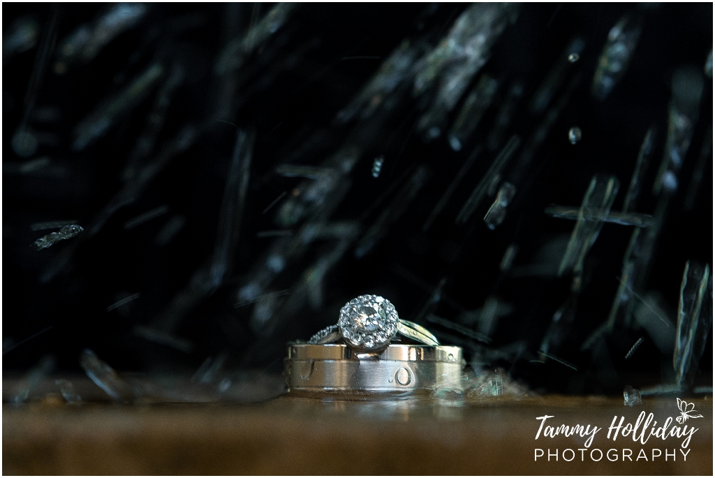 bride and groom rings shadow background