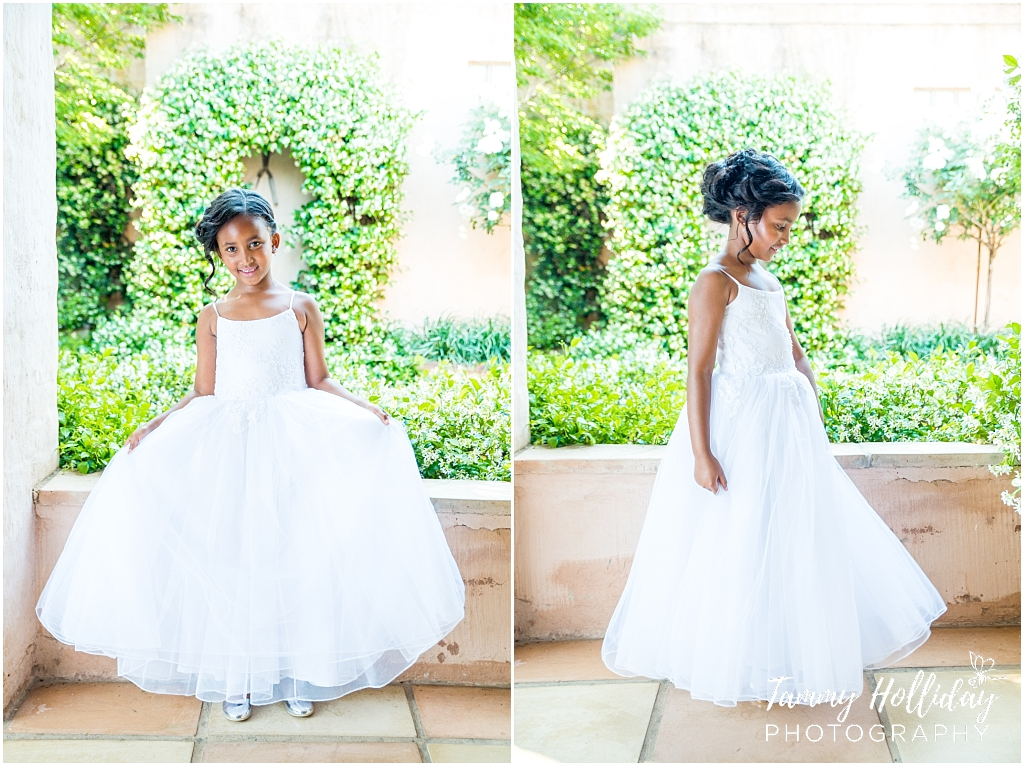 flower girl white dress garden scenery