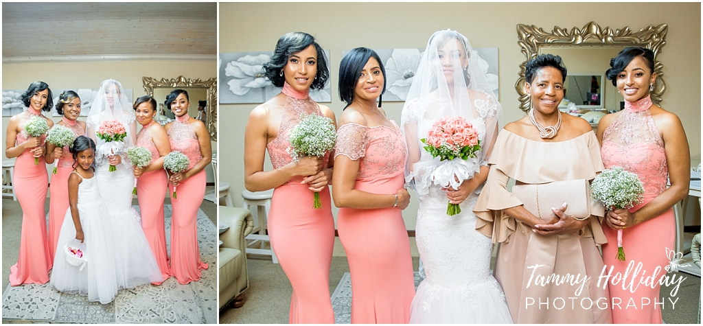 bride and bridal party pink dresses