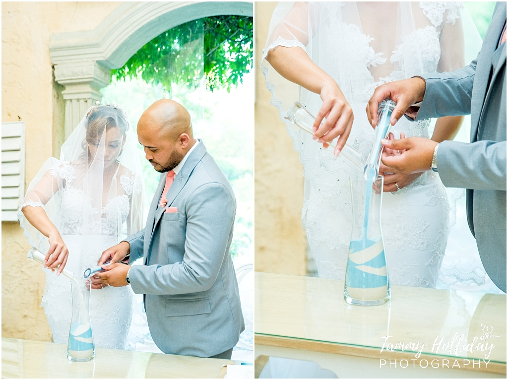 bride and groom pouring sand into a bottle