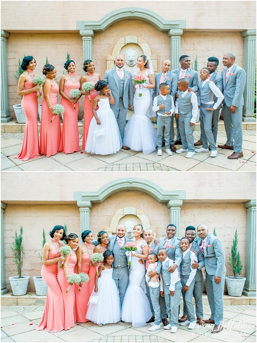 bride and groom with bridal party pink dresses and grey suits