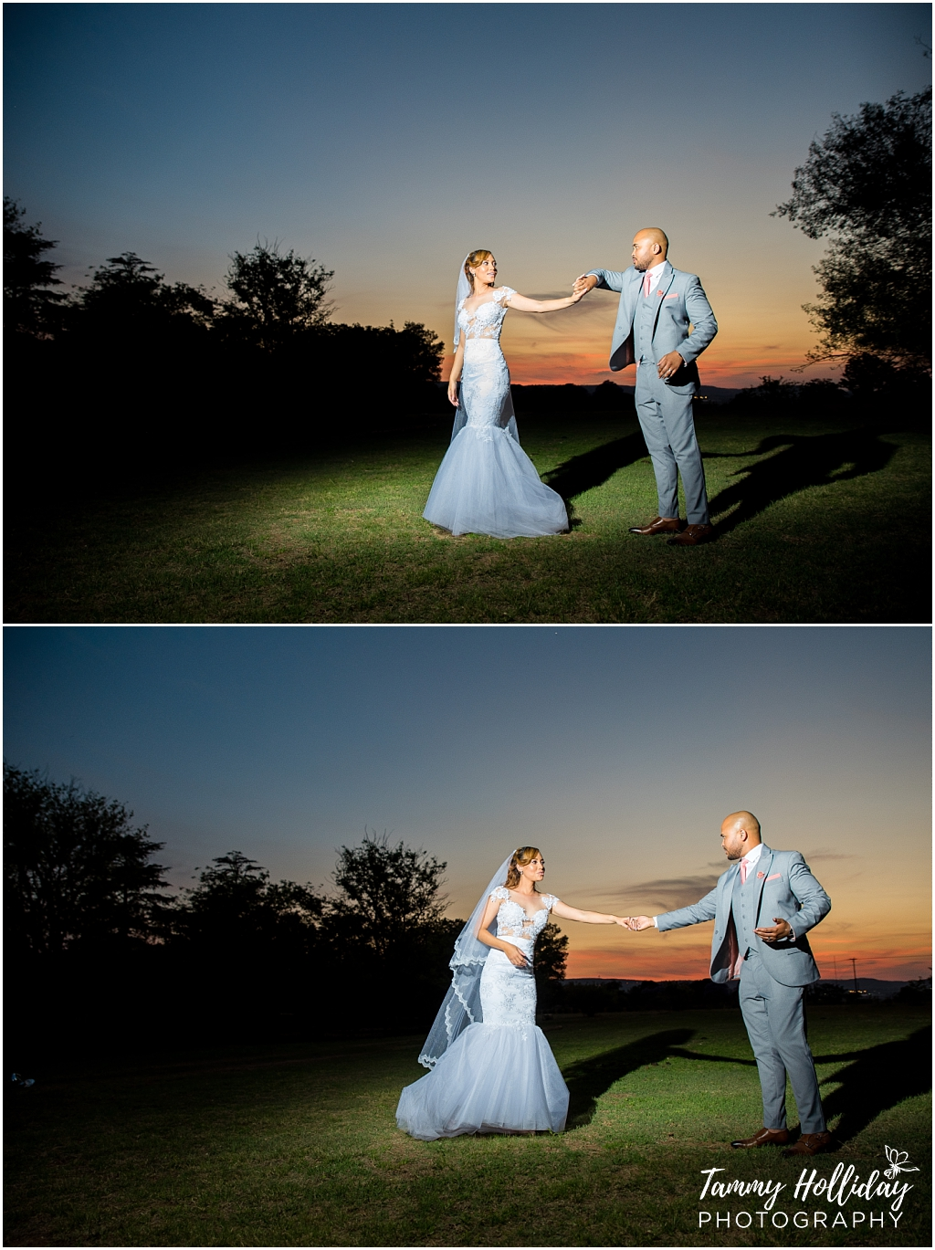 bride and groom dancing in the sunset