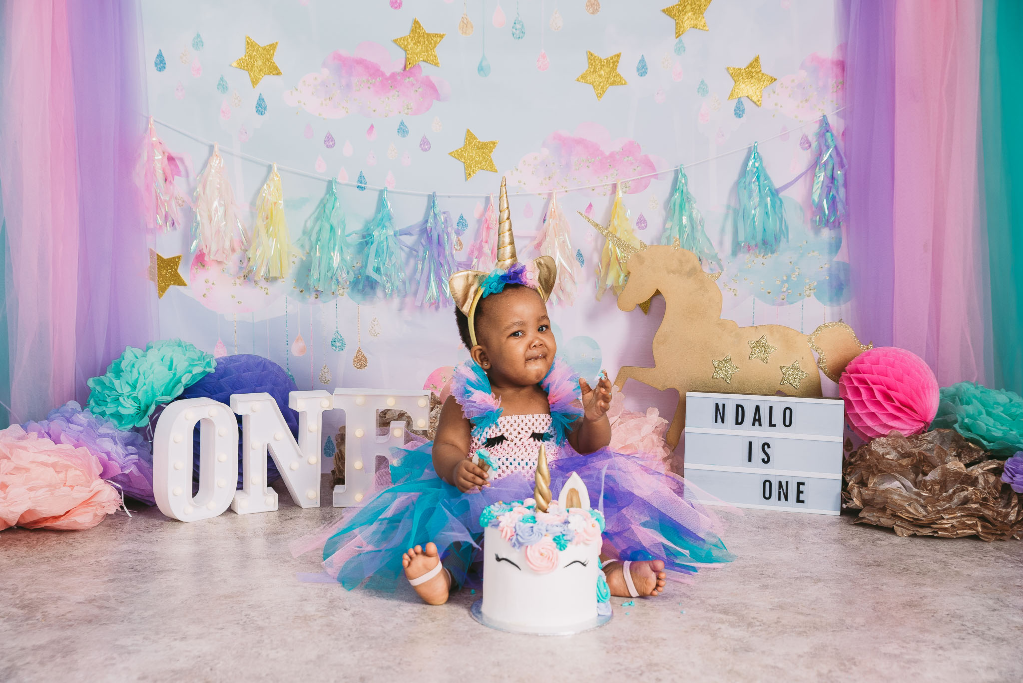 Best Rainbow unicorn cake smash photo shoot Johannesburg and Pretoria, Midrand Studio