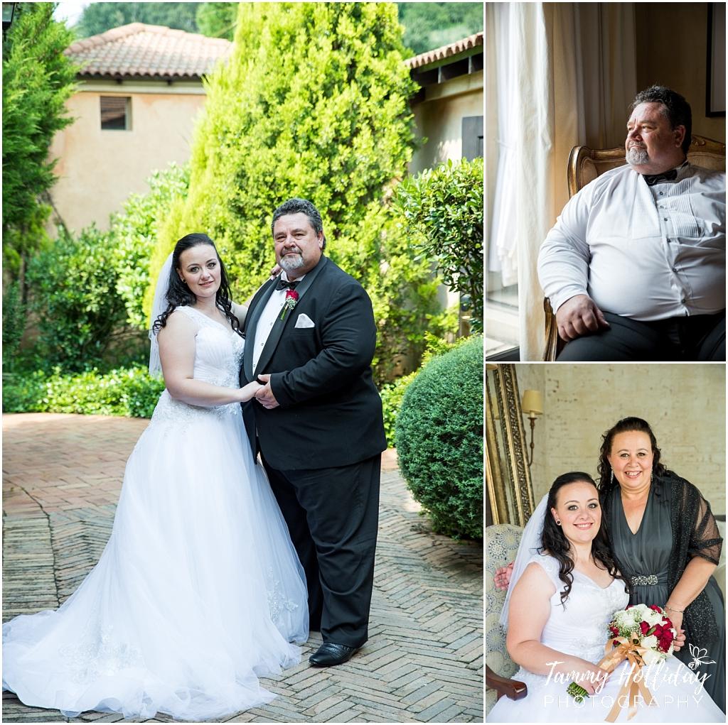 Bride and parents aviano wedding