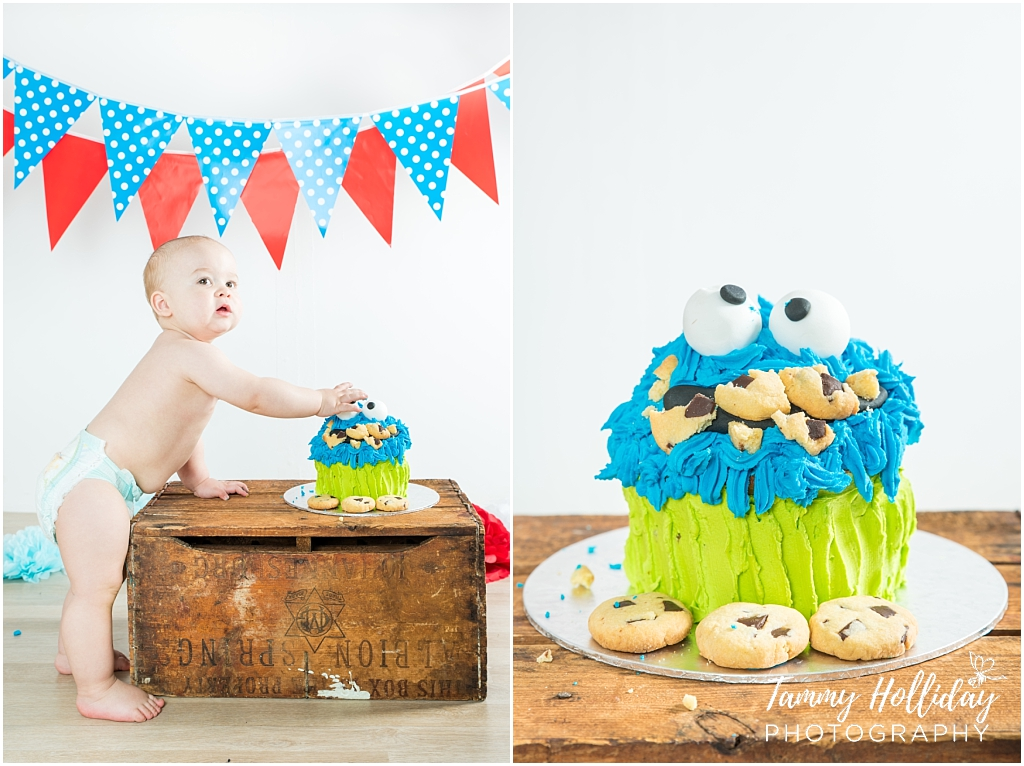 cookie monster cake smash red blue bunting