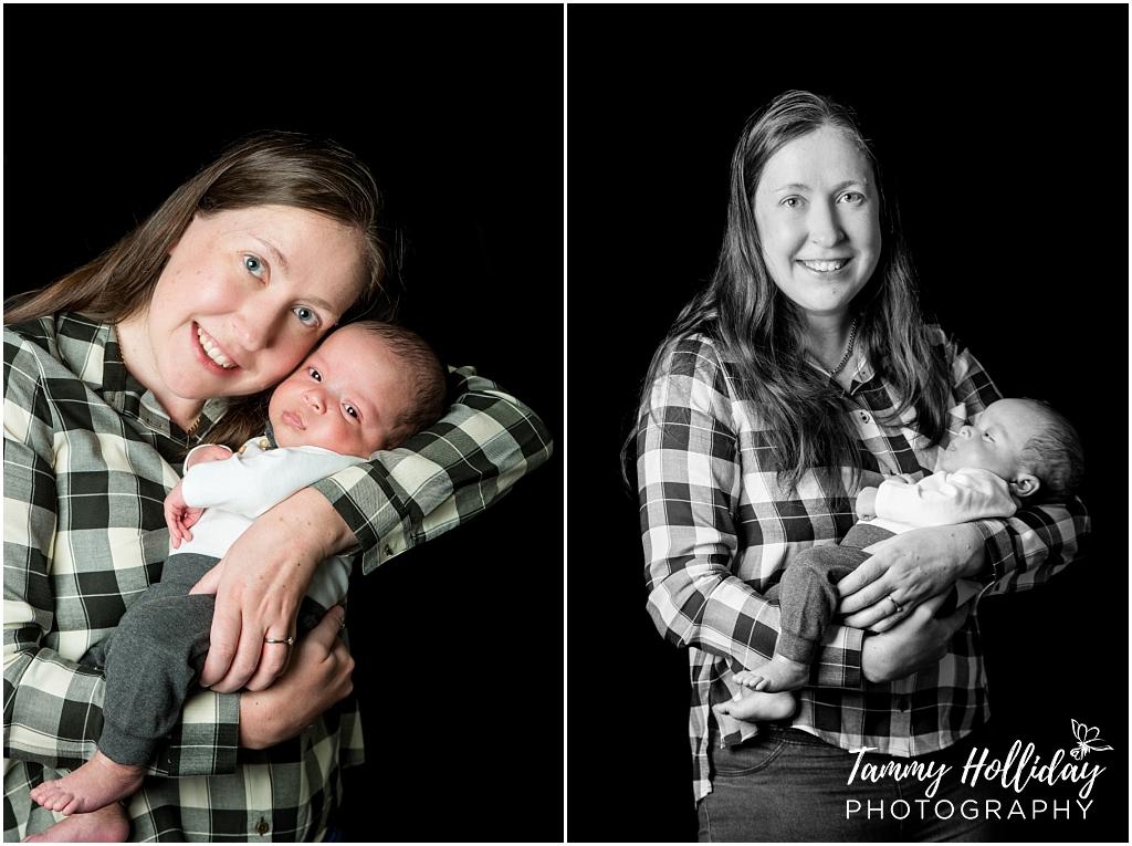 happy mommy new born photo shoot black background family shoot
