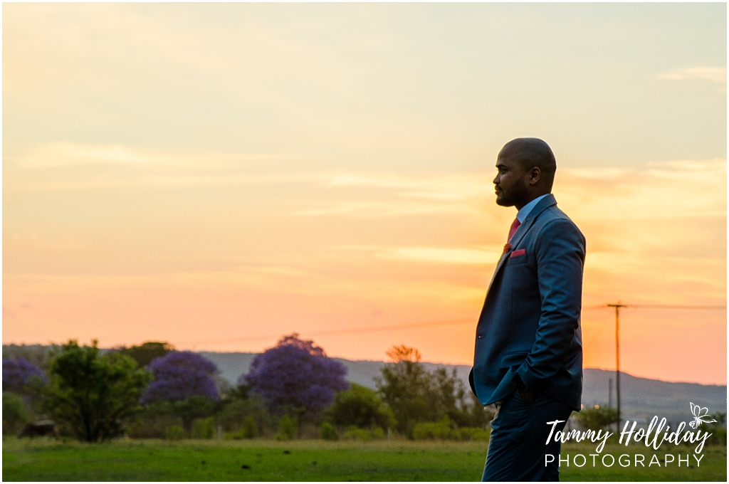 groom with garden landscape sunset background