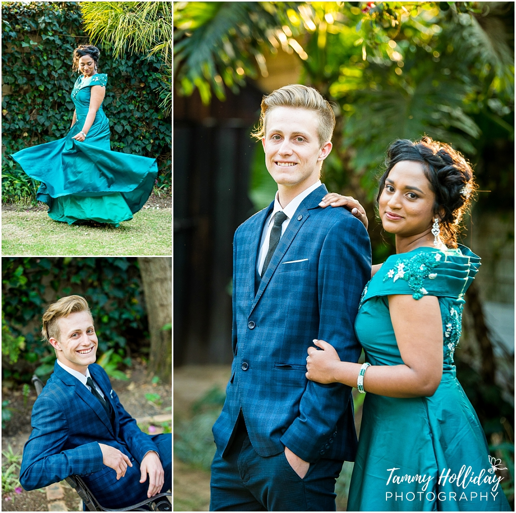jade green matric dress with guy wearing navy blue suit