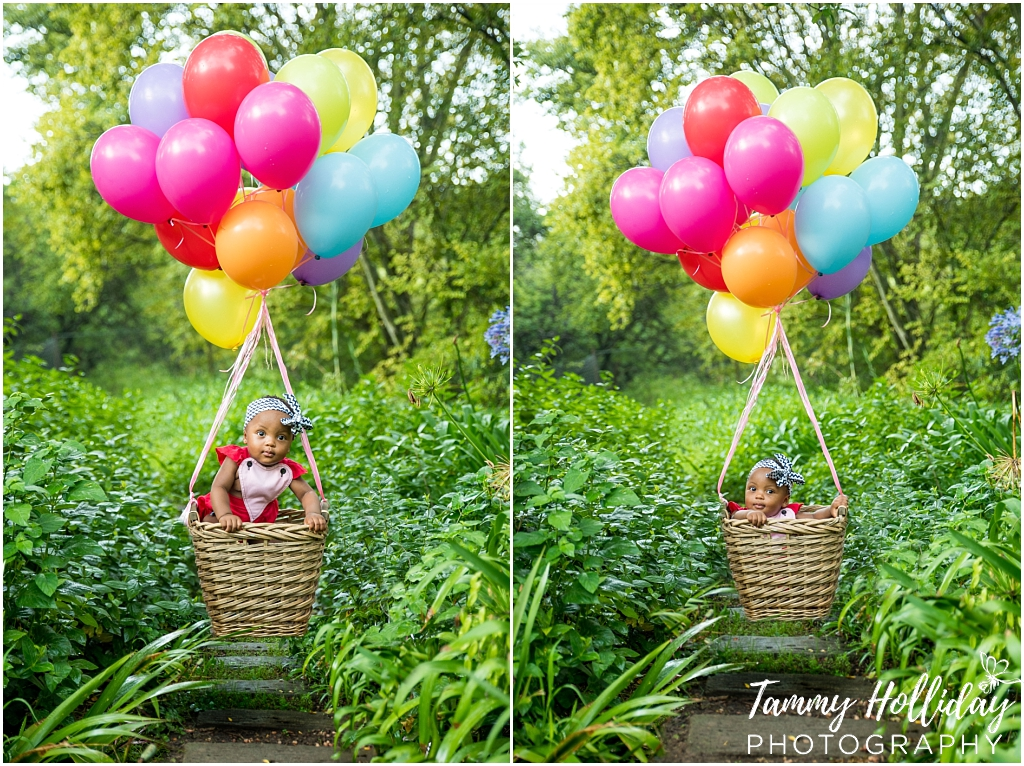 first birthday photo shoot on location family photo shoot little girl in basket carried by balloons